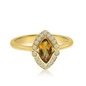 14K Yellow Gold Marquise Citrine and Diamond Halo Semi Precious Ring