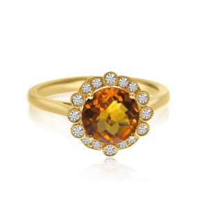 14K Yellow Gold 8mm Round Citrine and Diamond Beaded Halo Semi Precious Ring