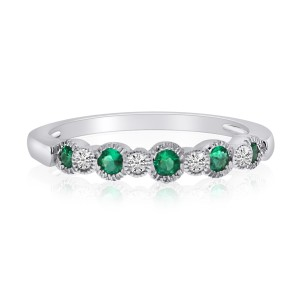 14K White Gold Emerald and Diamond Precious Beaded Stacking Ring