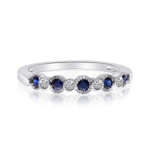 14K White Gold Sapphire and Diamond Precious Beaded Stacking Ring