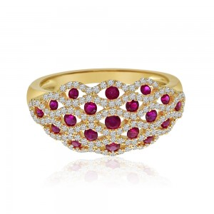 14K Yellow Gold Lightweight Weave Precious Ruby and Diamond Ring