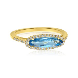 14K Yellow Gold Elongated Oval Blue Topaz and Diamond Semi Precious Fashion Ring