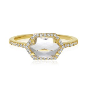14K Yellow Gold Hexagon White Topaz and Diamond Geometric Semi Precious Ring