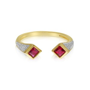 14K Yellow Gold Square Duo Ruby and Diamond Precious Ring