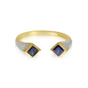 14K Yellow Gold Square Duo Sapphire and Diamond Precious Ring