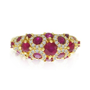 14K Yellow Gold Spotted Precious Ruby and Diamond Fashion Ring