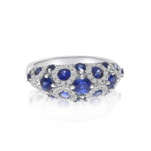 14K White Gold Spotted Precious Sapphire and Diamond Fashion Ring