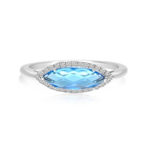 14K White Gold Elongated Marquise Blue Topaz and Diamond Semi Precious Ring