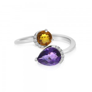 14K White Gold Semi Precious Duo Round Citrine and Pear Amethyst Ring