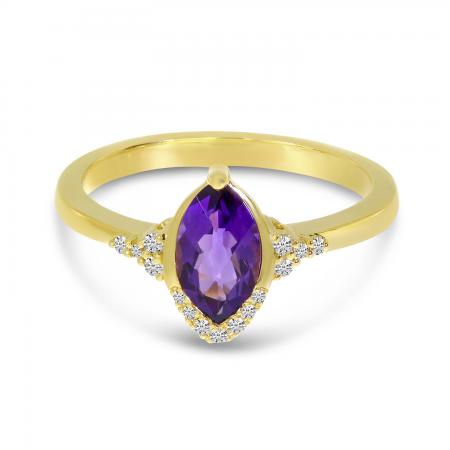 14K Yellow Gold Amethyst Marquis Semi-Precious Ring