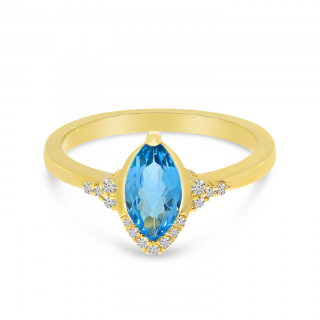 14K Yellow Gold Blue Topaz Marquis Semi-Precious Ring
