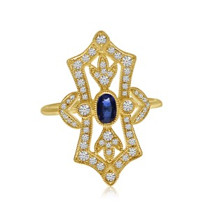 14K Yellow Gold Art Deco Oval Sapphire and Diamond Precious Fashion Ring