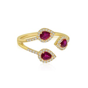 14K Yellow Gold Trio Precious Pear Ruby and Diamond Fashion Ring