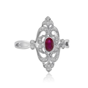 14K White Gold Oval Ruby and Diamond Elongated Precious Antique Ring
