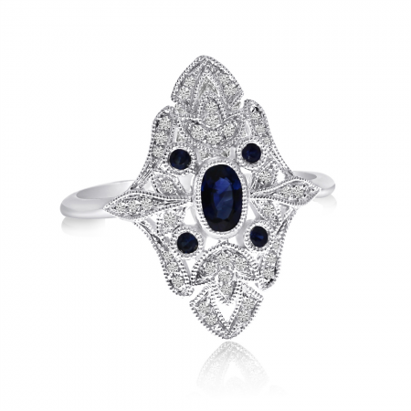 14K White Gold Art Deco Sapphire and Diamond Ring