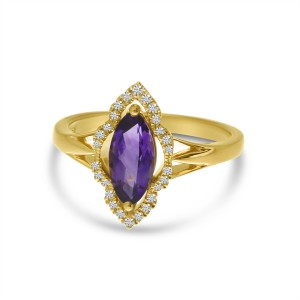 14K Yellow Gold Marquise Amethyst and Diamond Semi Precious Ring