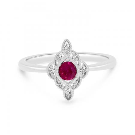 14K White Gold Round Ruby and Diamond Precious Ring