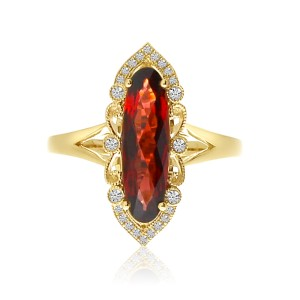 14K Yellow Gold large Oval Garnet North South Semi Precious Ring