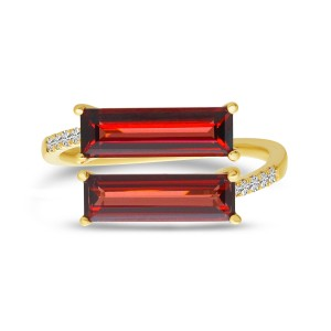 14K Yellow Gold Baguette Garnet Duo and Diamond East West Semi Precious Ring