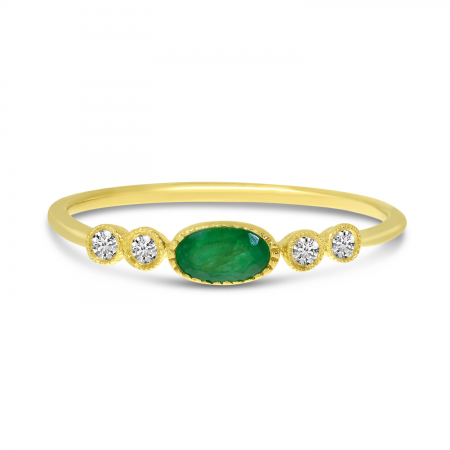 14K Yellow Gold Oval Emerald and Diamond Dainty Precious Ring