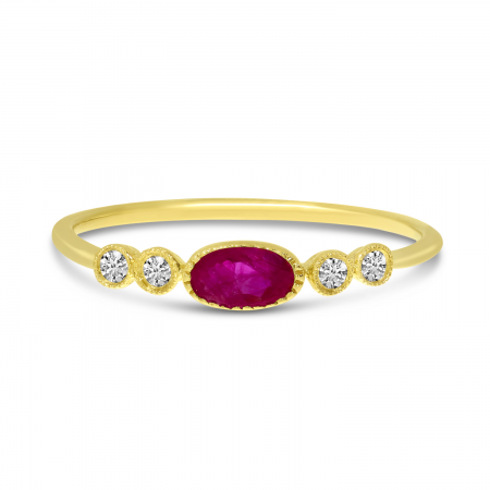 14K Yellow Gold Oval Ruby and Diamond Stackable Precious Ring