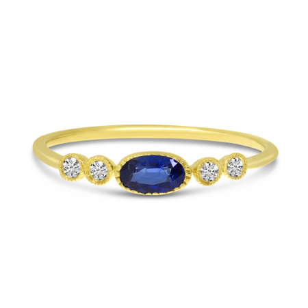 14K Yellow Gold Oval Sapphire and Diamond Stackable Precious Ring