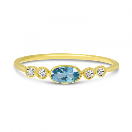 14K Yellow Gold Oval Blue Topaz and Diamond Stackable Semi Precious Ring