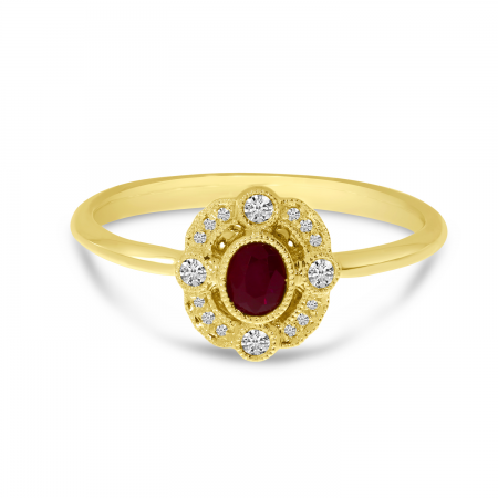 14K Yellow Gold Small Oval Ruby and Diamond Ring