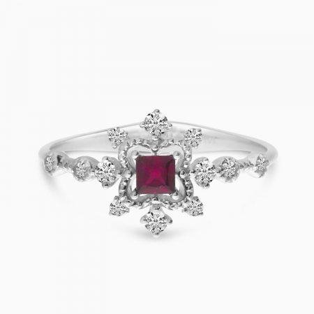 14K White Gold Princess Ruby and Diamond Precious Ring