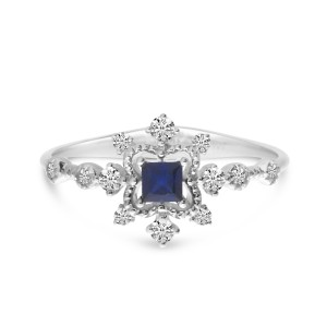 14K White Gold Princess Sapphire and Diamond Precious Ring