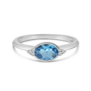 14K White Gold Oval Blue Topaz and Diamond East West Semi Precious Ring