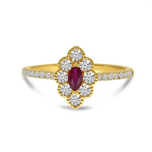 14K Yellow Gold Marquise Ruby and Round Diamonds Precious Beaded Ring