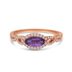 14K Yellow Gold Marquise Amethyst with Diamonds East West Semi Precious Infinity