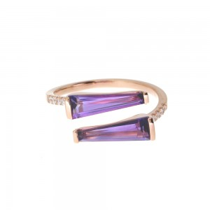 14K Rose Gold Duo Trillion Amethyst and Diamond Semi Precious Ring