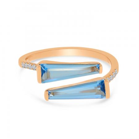 14K Rose Gold Duo Trillion Blue Topaz & Diamond Semi Precious Ring