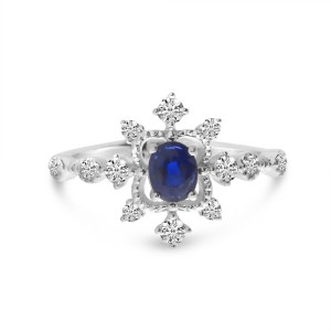 14K White Gold Oval Sapphire and Diamond Burst Ring