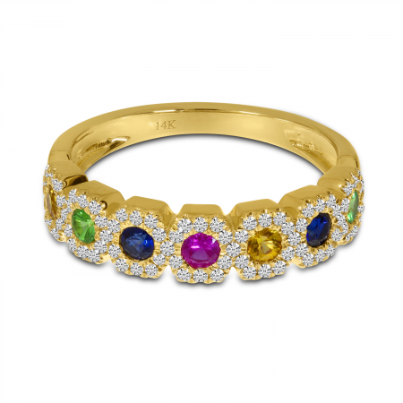 14K Yellow Gold Hexagon Rainbow Sapphire and Diamond Ring