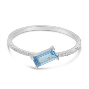 14K White Gold East West Octagon Blue Topaz and Diamond Sideway Semi Precious Ring