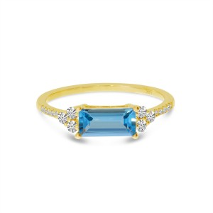 14K Rose Gold East West Octagon Blue Topaz and Diamond Semi Precious Ring