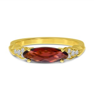 14K Yellow Gold East West Marquise Garnet and Diamond Semi Precious Ring