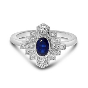 14K White Gold Precious Oval Sapphire and Diamond Art Deco Ring