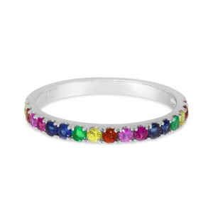 14K White Gold Genuine Rainbow Sapphire Band