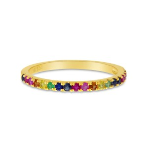 14K Yellow Gold Genuine Rainbow Sapphire Band