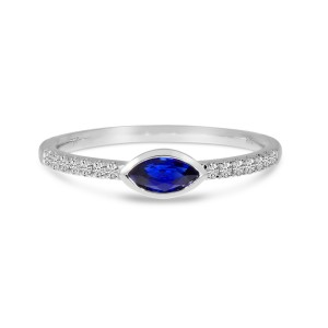 14K White Gold East West Sapphire and Diamond Precious Marquise Ring