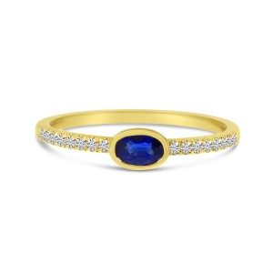 14K Yellow Gold East West Oval Sapphire and Diamond Precious Ring
