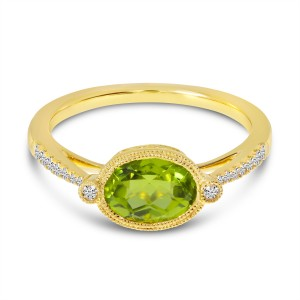 14K Yellow Gold Oval East West Peridot and Diamond Millgrain Semi Precious Ring