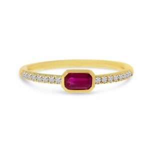 14K Yellow Gold East West Octagon Ruby and Diamond Precious Ring