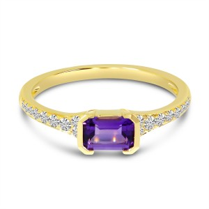 14K Yellow Gold East West Octagon Amethyst and Diamond Semi Precious Ring