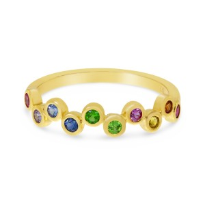 14K Yellow Gold Genuine Rainbow Sapphire Bubble Ring