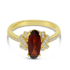 14K Yellow Gold Oval North South Garnet and Diamond Art Deco Semi Precious Ring
